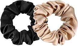 Voňavky, Parfémy, kozmetika Sada gumičiek z prírodného hodvábu Midi - Makeup Scrunchie Set Black Gold