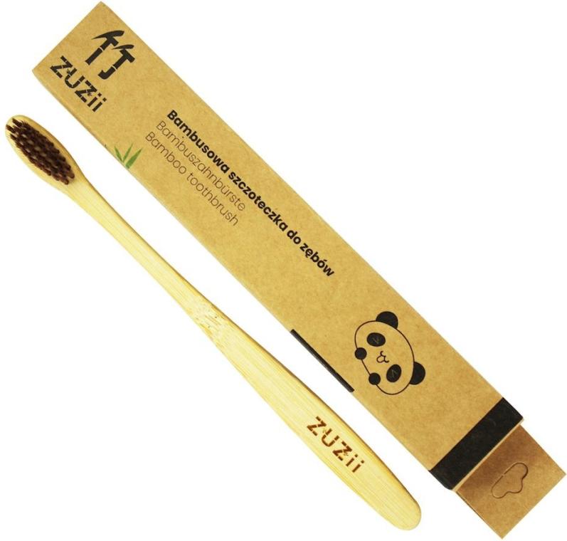 Bambusová zubná kefka s mäkkými hnedými štetinami - Zuzii Soft Toothbrush — Obrázky N1