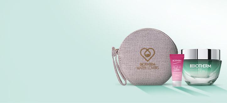 Pri nákupe výrobkov Biotherm v hodnote vyše 44 € získaj kozmetickú tašku a Aqua Glow 5 ml ako darček