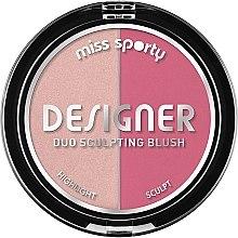 Voňavky, Parfémy, kozmetika Lícenka na tvarovanie lícnych kostí - Miss Sporty Draping Designer Duo Sculpting Blush