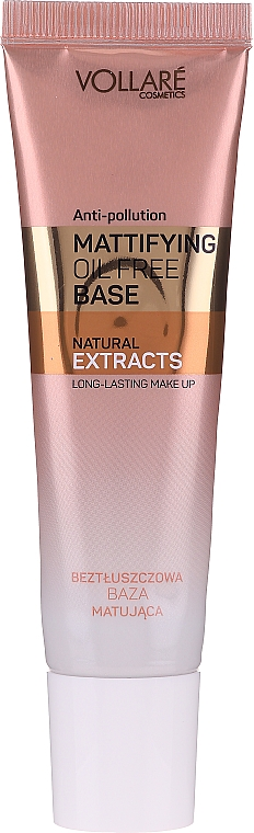 Zmatňujúci podklad pod makeup - Vollare Mattifying Oil Free Natural Extracts Base Long-Lasting Make Up