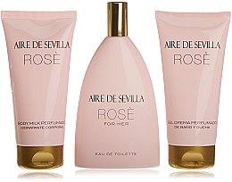 Voňavky, Parfémy, kozmetika Instituto Español Aire de Sevilla Rose - Sada( edt/150ml + b/milk/150ml + sh/cr/150ml)