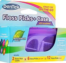 Voňavky, Parfémy, kozmetika Sada Dentálne špáradla + 2 cestovné puzdrá, fialové + malinové - Dentek Moulthwash Blast