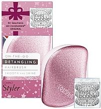 Voňavky, Parfémy, kozmetika Sada - Tangle Teezer Compact Styler Let It Snow Set (brush/1szt + hair/tie/3szt)