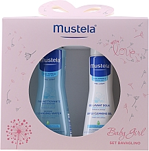 Voňavky, Parfémy, kozmetika Sada - Mustela Baby Girl Bavaglino Set Pink (gel/200ml + water/300ml + bib)