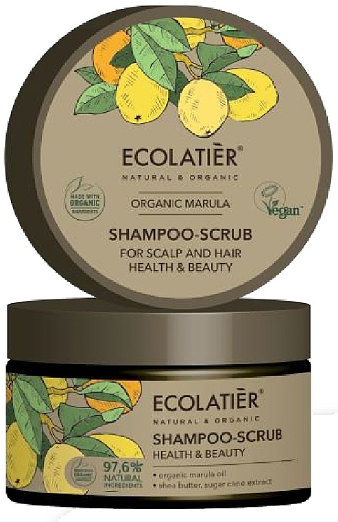 """Scrubový šampón na vlasy a pokožku hlavy """"Zdravie a krása"""" - Ecolatier Organic Marula Shampoo-Scrub"""