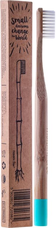 Bambusová zubná kefka, mäkká, azúrová - Mohani Toothbrush — Obrázky N1