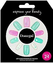 Voňavky, Parfémy, kozmetika Sada umelých nechtov s lepidlom, 3055 - Donegal Express Your Beauty