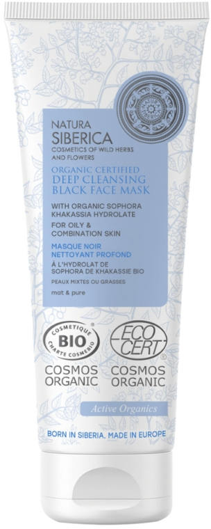 Hĺbkovo čistiaca maska na tvár - Natura Siberica Organic Certified Deep Cleansing Black Face Mask