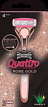Voňavky, Parfémy, kozmetika Stroj + 1 vymeniteľná kazeta - Wilkinson Sword Quattro for Women Rose Gold