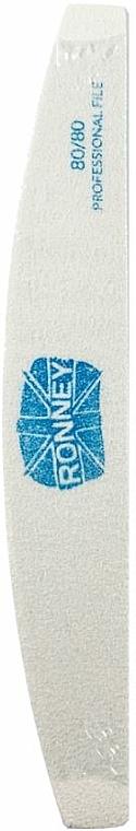Pilník na nechty, 80/80, biely, polmesiac - Ronney Professional
