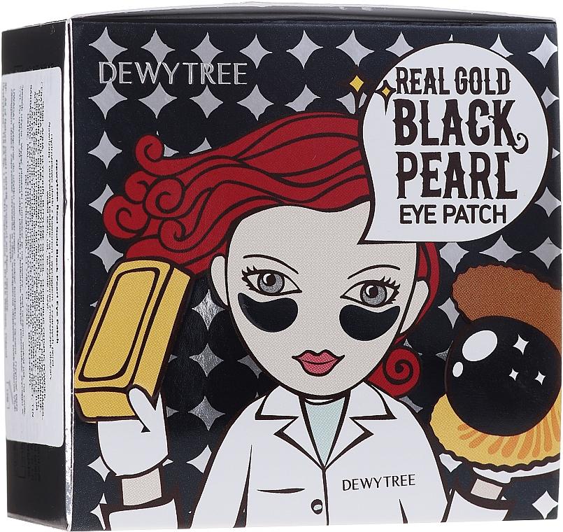 Náplasti pod oči so zlatom a čiernymi perlami - Dewytree Real Gold Black Pearls Eye Patch