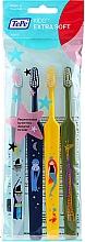 Voňavky, Parfémy, kozmetika Detské zubné kefky, svetlomodrá + modrá + zelená + žltá - TePe Kids Extra Soft