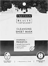Voňavky, Parfémy, kozmetika Látková čistiaca maska na tvár s aktívnym uhlím, probiotikami a sérumom - Freeman Beauty Infusion Cleansing Clay Mask Charcoal & Probiotics