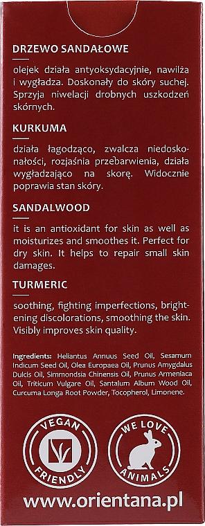 "Olej na tvár ""Santalové drevo a kurkuma"" - Orientana Face Oil Sandalwood & Turmeric — Obrázky N3"