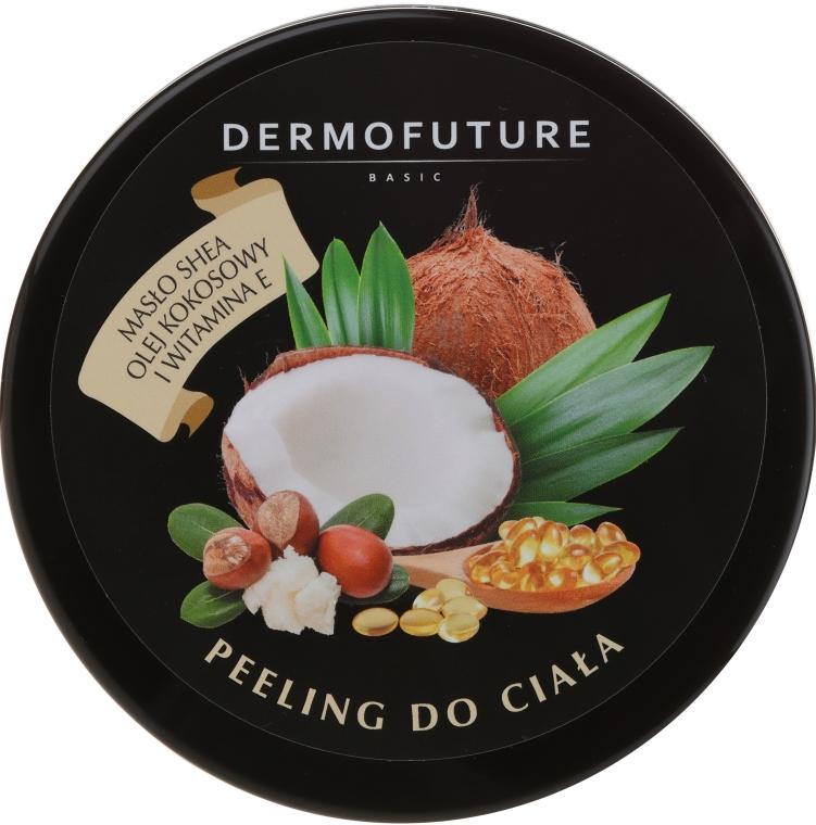 Cukrový scrub na telo s bambuckým maslom a kokosom - DermoFuture Sugar Body Scrub