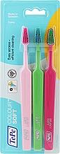 Voňavky, Parfémy, kozmetika Sada zubných kefiek, 3ks, ružová + svetlozelená + svetloružová - TePe Colour Soft