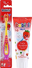 Voňavky, Parfémy, kozmetika Sada so žlto-fialovým štetcom, 1-6 rokov  - Bobini (toothbrush/1pc + toothpaste/75ml)