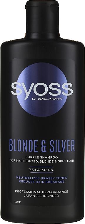 Šampón pre svetlé, odfarbené a sivé vlasy - Syoss Blond & Silver Purple Shampoo For Highlighted, Blonde & Grey Hair
