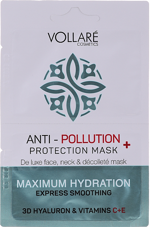 "Maska na tvár ""Hydratačná kyselina hyalurónová + vitamíny C a E"" - Vollare Anti-Pollution Protection Mask"