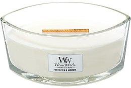 Voňavky, Parfémy, kozmetika Vonná sviečka v pohári - WoodWick Hearthwick Flame Ellipse Candle White Tea & Jasmine