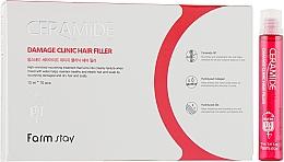 Voňavky, Parfémy, kozmetika Hydratačný filler s ceramidmi na vlasy - FarmStay Ceramide Damage Clinic Hair Filler
