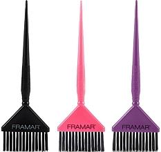 Voňavky, Parfémy, kozmetika Široké štetce na farbenie vlasov, čierny, ružový, fialový - Framar Big Daddy Brush Set