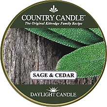 """Voňavky, Parfémy, kozmetika Čajová sviečka """"Šalvia a céder"""" - Country Candle Sage and Cedar Daylight"""