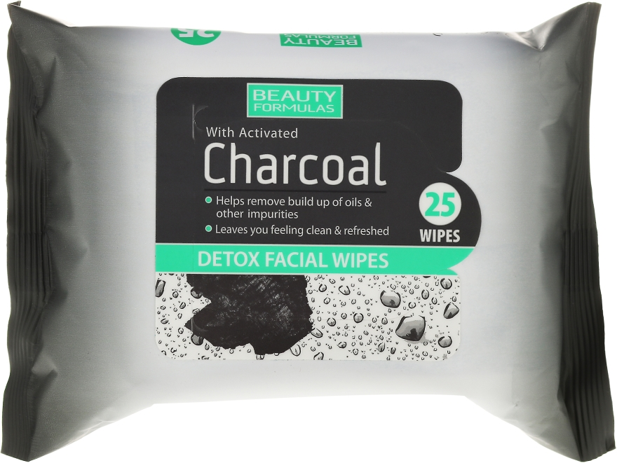 Čistiace obrúsky na tvár s aktívnym uhlím - Beauty Formulas Charcoal Detox Facical Wipes
