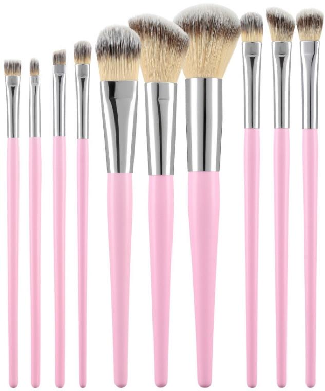 Sada profesionálnych štetcov na líčenie, 10ks, ružové - Tools For Beauty