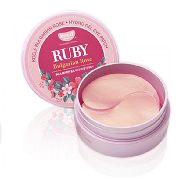 Hydrogélové vankúšiky s rubínom a bulharskou ružou - Petitfee & Koelf Ruby & Bulgarian Rose Eye Patch