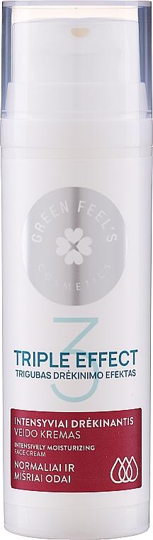 Intenzívne hydratačná maska pre normálnu a kombinovanú pokožku s extraktom z uhorky a aloe - Green Feel's Triple Effect Intensively Moisturizing Face Cream