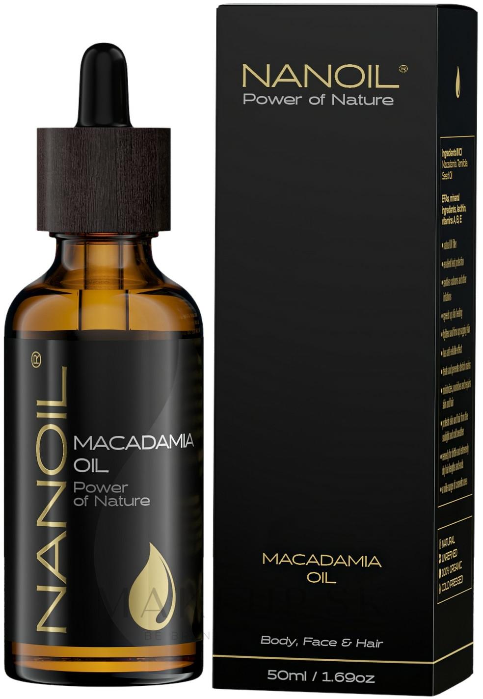 Makadamiový olej - Nanoil Body Face and Hair Macadamia Oil — Obrázky 50 ml