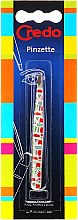 Voňavky, Parfémy, kozmetika Pinzeta na obočie, skosená, farebný vzor, 9 cm - Credo Solingen