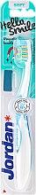 Voňavky, Parfémy, kozmetika Detská zubná kefka Hello Smile, mäkká, biela s modrou farbou - Jordan Hello Smile Soft