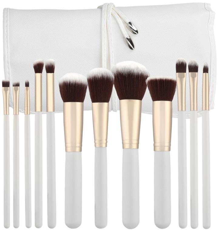 Sada profesionálnych make-upových štetcov, biele, 12ks - Tools For Beauty