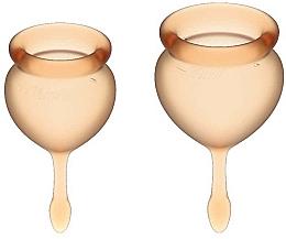 Voňavky, Parfémy, kozmetika Sada menštruačných kalíškov s chvostom v tvare kvapky, oranžové - Satisfyer Feel Good Menstrual Cup Orange