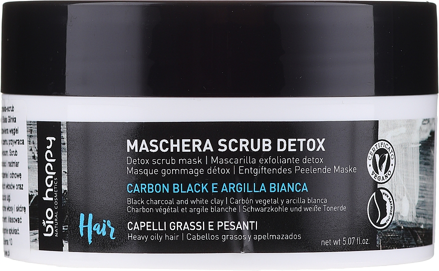 Maska a scrub na vlasy - Bio Happy Carbon Black & White Clay Scrub Mask