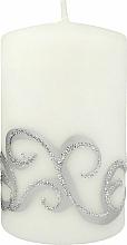 Voňavky, Parfémy, kozmetika Dekoratívna sviečka, biela so vzorom, 7x10 cm - Artman Christmas Ornament