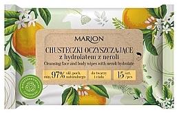 Voňavky, Parfémy, kozmetika Čistiace utierky na tvár a telo s hydrolátom neroli, 15ks - Marion