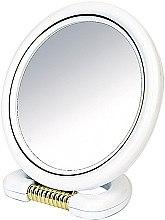 Voňavky, Parfémy, kozmetika Zrkadlo je obojstranné, okrúhle, na stojane, biele, 18,5 cm - Donegal Mirror