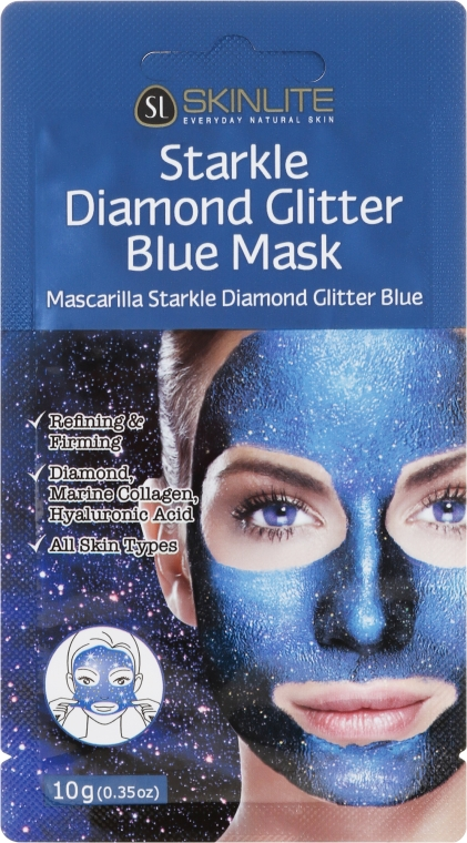 Odlupovacia maska s trblietkami - Skinlite Starkle Diamond Glitter Blue Mask — Obrázky N1
