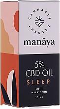 Voňavky, Parfémy, kozmetika Konopný olej obohatený o melatonín - Manaya 5 % CBD Oil Sleep With Melatonin