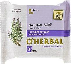 Voňavky, Parfémy, kozmetika Prírodné mydlo s extraktom z levandule a bielou hlinou - O'Herbal Natural Soap