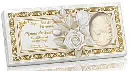 """Voňavky, Parfémy, kozmetika Sada prírodného mydla v tvare dámy """"Kvetinová kytica"""" - Saponificio Artigianale Floral Bouquet Soap (soap/3pcsx125g)"""