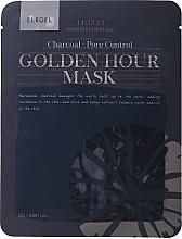 Voňavky, Parfémy, kozmetika Látková maska na tvár - Elroel Golden Hour Mask Charcoal Pore Control