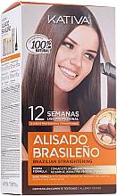 Voňavky, Parfémy, kozmetika Súprava na keratínové vyrovnanie vlasov - Kativa Alisado Brasileno Con Glyoxylic & Keratina Vegetal Kit (shm/15ml + mask/150ml + shm/30ml + cond/30ml)