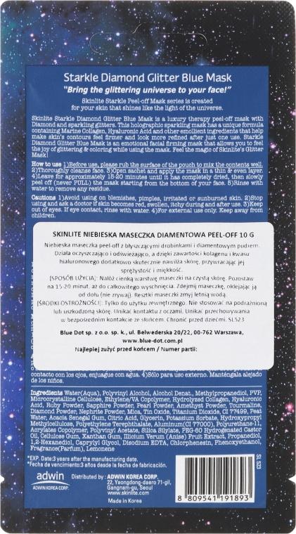Odlupovacia maska s trblietkami - Skinlite Starkle Diamond Glitter Blue Mask — Obrázky N2