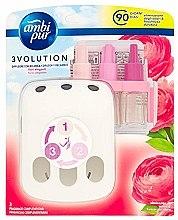 """Voňavky, Parfémy, kozmetika Sada na aromatizáciu """"Ruža"""" - Ambi Pur (diffuser/1szt+refill/3x7ml)"""