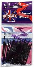 Voňavky, Parfémy, kozmetika Rovné vlásenky čierne 50 mm, 40 ks - Ronney Professional Black Hair Pins